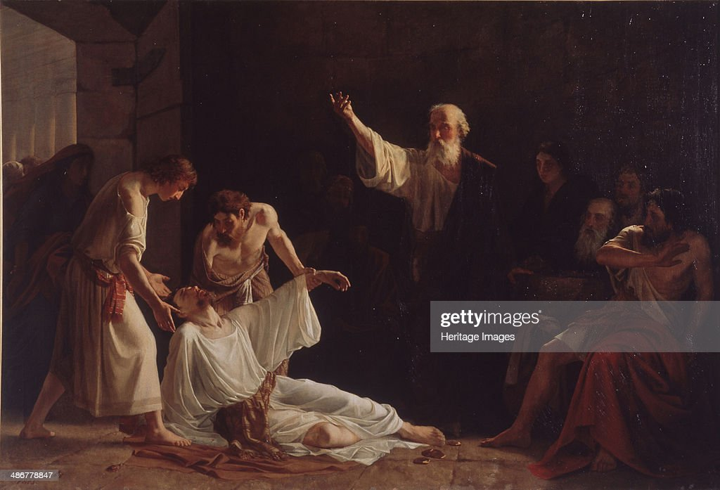 The Punishment of Ananias and Sapphira, 1865. Found in the collection of the Museum of Fine Arts Academy, St. Petersburg. : News Photo