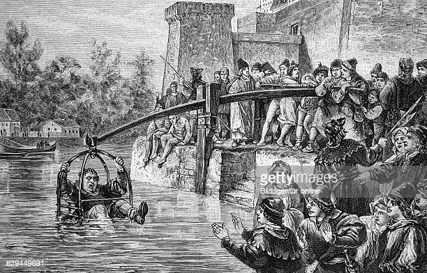 The punishment of immersion in the middle ages used for fraudulent bakers historical engraving 1888