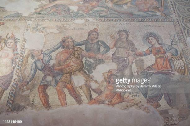 the punishment of marsyas mosaic, paphos archaeological park - mitologia greca foto e immagini stock