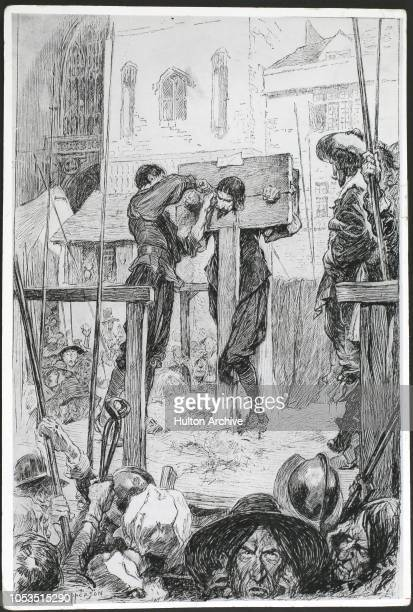 The punishment of William Prynne in the pillory. A drawing by Claude A. Shepperson. Prynne, a lawyer, had written a book attacking the English Church...