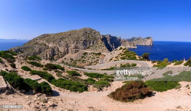 """The Punta d""""u2019en Tomas bay and the Formentor Peninsula are seen from Formentor Cape on July 23, 2021 in Mallorca, Spain."""