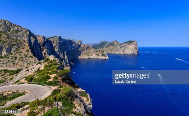 "The Punta d""u2019en Tomas bay is seen from Formentor Cape on July 23, 2021 in Mallorca, Spain."