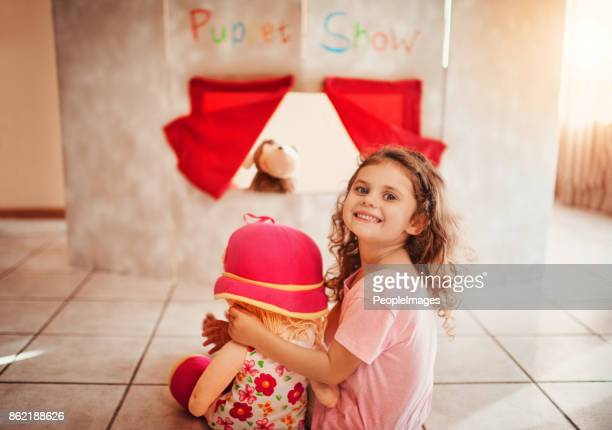 the puppet show is about to start! - puppet show stock photos and pictures