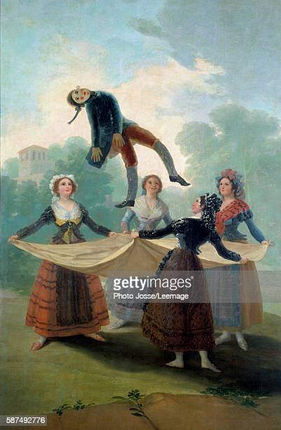 The Puppet Young girls throwing up a rag doll with a sheet Painting by Francisco de Goya 1792 16 x 267 m Prado Museum Madrid