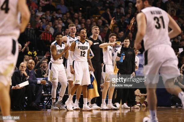The Purdue Boilermakers bench reacts during the first half against the Texas Tech Red Raiders in the 2018 NCAA Men's Basketball Tournament East...