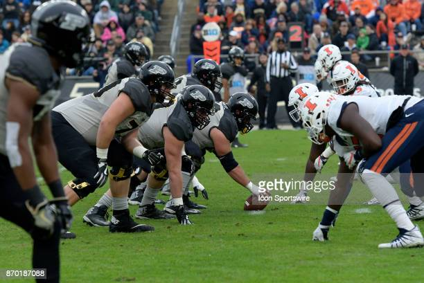 The Purdue Boilermakers offensive line comes set for a play during the Big Ten Conference game between the Illinois Fighting Illini and the Purdue...