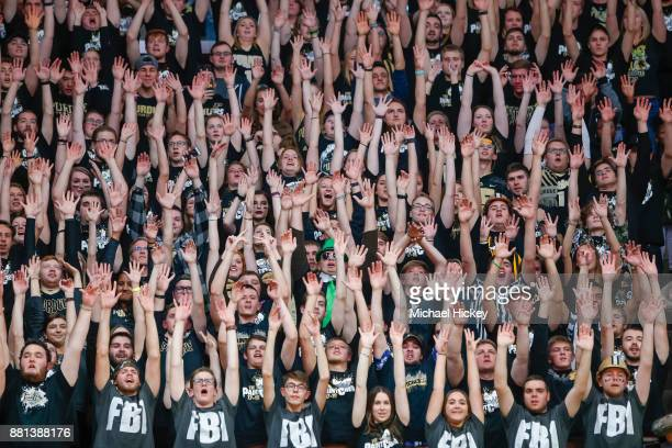 The Purdue Boilermakers student section is seen during the game against the Louisville Cardinals at Mackey Arena on November 28, 2017 in West...