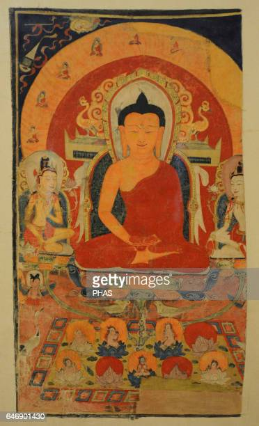 The Pure Land of Buddha Amitabha Tangut State of the Western Xia KharaKhoto 12th century Tangka colours on cotton The State Hermitage Museum Saint...