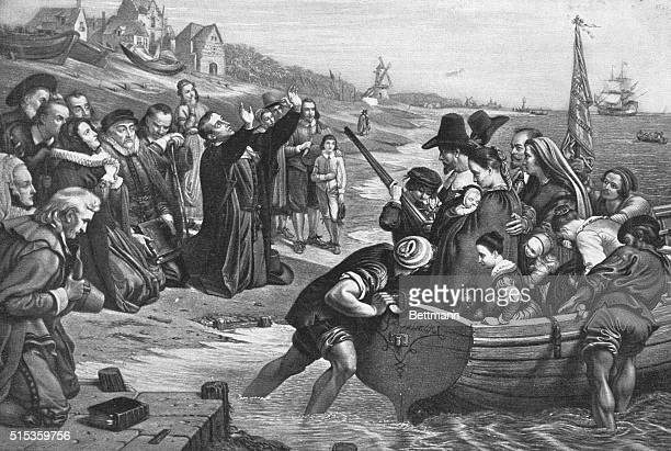 The Puritans leave Holland The first company of the Puritan settlers of New England set forth from their exile in Holland