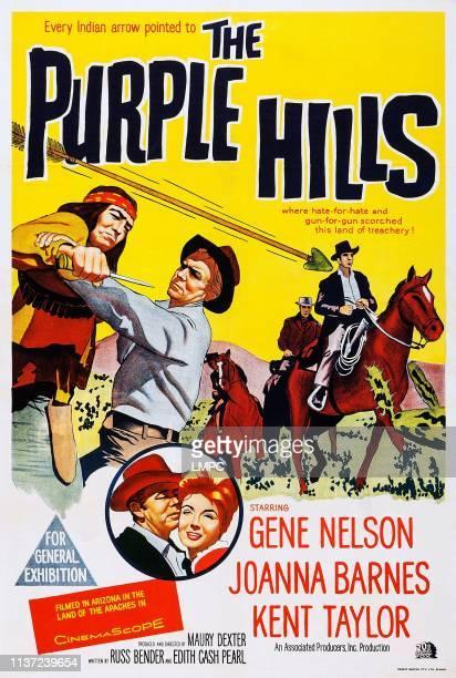 The Purple Hills poster US poster top from left Danny Zapien Gene Nelson bottom from left Gene Nelson Joanna Barnes 1961