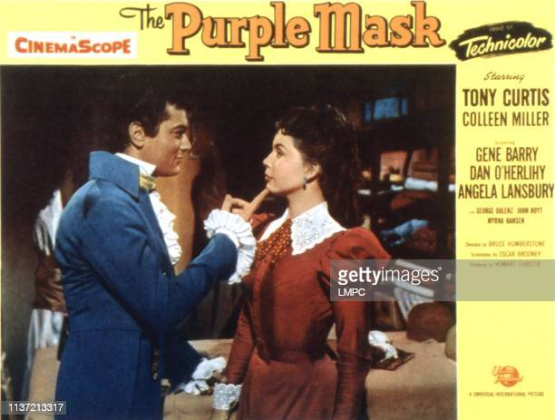 The Purple Mask, lobbycard, Tony Curtis, Colleen Miller, 1955.