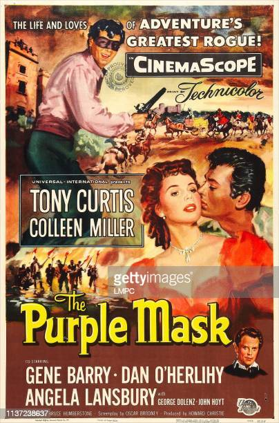 The Purple Mask poster US poster Tony Curtis center from left Colleen Miller Tony Curtis Dan O'Herlihy 1955