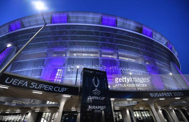 The Puskas Arena is illuminated prior to the UEFA Super Cup football match between FC Bayern Munich and Sevilla FC in Budapest, Hungary on September...