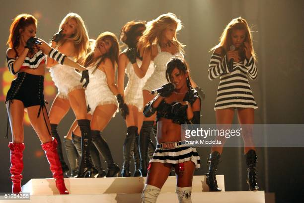 The Pussy Cat Dolls perform on stage at the Fashion Rocks concert held at Radio City Music Hall on September 8 2004 in New York City
