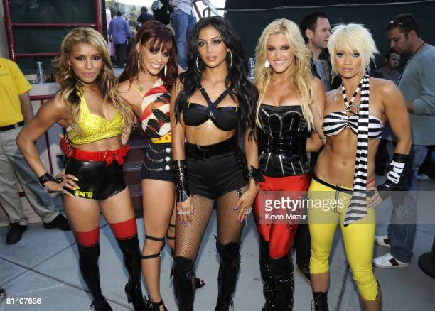 The Pussycat Dolls backstage at the 2008 MTV Movie Awards on June 1 2008 at the Gibson Amphitheatre in Universal City California