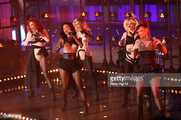 The Pussycat Dolls Carmit Bachar, Ashley Roberts, Nicole Scherzinger, Jessica Sutta and Kimberly Wyatt seen at BBC Studios performing for The One...