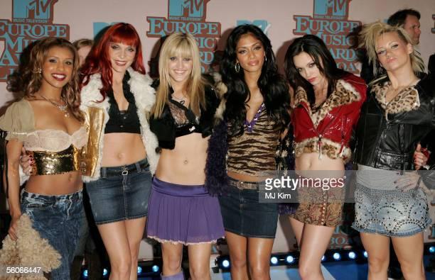 The Pussycat Dolls Melody Thornton Carmit Bachar Ashley Roberts Nicole Scherzinger Jessica Sutta and Kimberly Wyatt arrive at the 12th annual MTV...