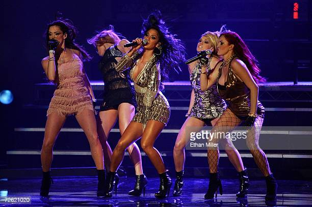 The Pussycat Dolls perform Buttons onstage at the 2006 American Music Awards held at the Shrine Auditorium on November 21 2006 in Los Angeles...