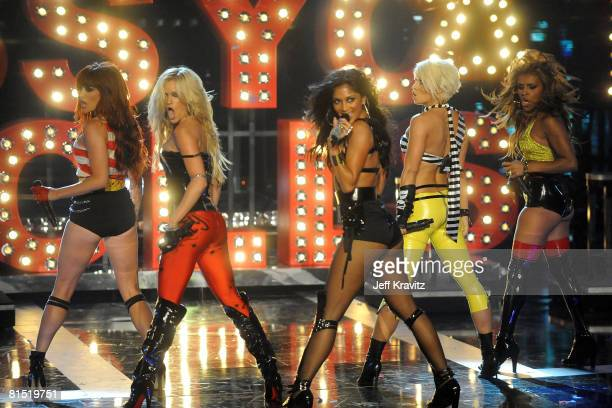 The Pussycat Dolls perform on stage at the 2008 MTV Movie Awards at the Gibson Amphitheatre on June 1 2008 in Universal City California