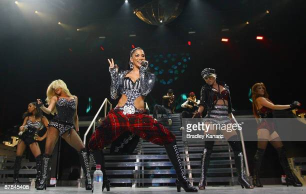 The Pussycat Dolls perform on stage at the Brisbane Entertainment Centre on May 19 2009 in Brisbane Australia