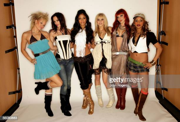 The Pussycat Dolls pose for a portrait in the backstage studio at the 12th annual MTV Europe Music Awards 2005 at the Atlantic Pavilion on November 3...
