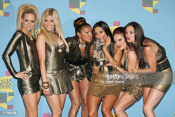 The Pussycat Dolls pose in the press room with their award for Best Dance Video during the 2006 MTV Video Music Awards at Radio City Music Hall...