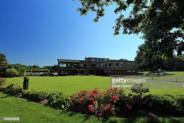 The putting green and clubhouse at The Royal Norwich Golf Club on July 25, in Norwich, Norfolk, England.