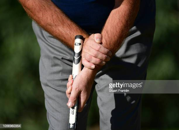 The putting grip of Thorbjorn Olesen of Denmark during the third round of the Turkish Airlines Open on November 3, 2018 in Antalya, Turkey.