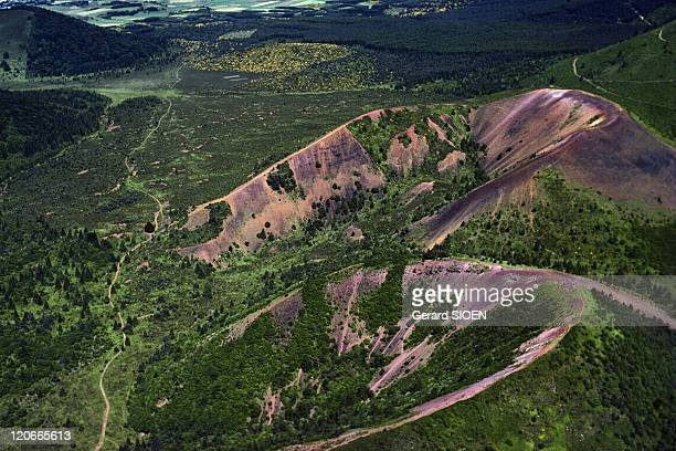 The Puy De La Vache Volcano Auvergne France Aerial view of the Puy de la Vache volcano in the regional natural park of Auvergne volcanoes it is...