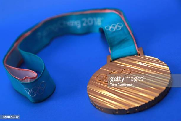 The PyeonChang 2018 gold medal is seen during the Team USA Media Summit ahead of the PyeongChang 2018 Olympic Winter Games on September 25 2017 in...