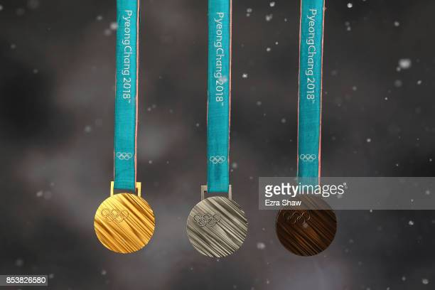 The PyeonChang 2018 gold silver and bronze medals are seen during the Team USA Media Summit ahead of the PyeongChang 2018 Olympic Winter Games on...