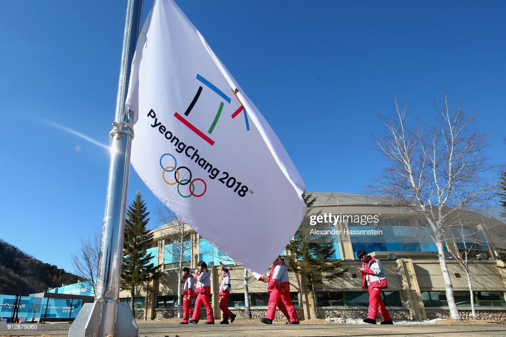 The PyeongChang 2018 flag is pictured prior to the PyeongChang 2018 Olympic Village opening ceremony at the PyeongChang 2018 Olympic Village Plaza on February 1, 2018 in Pyeongchang-gun, South Korea.