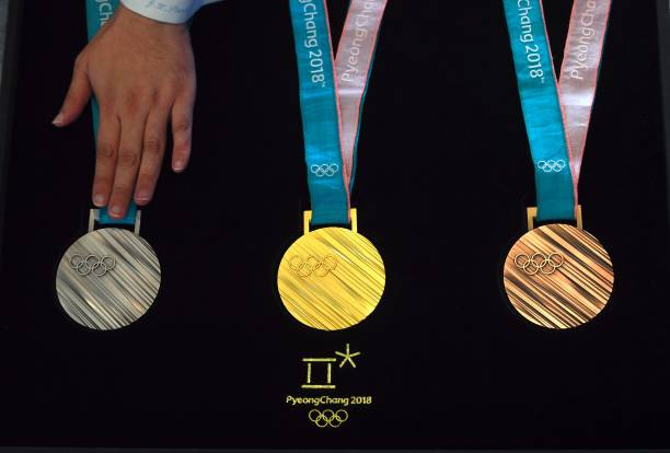 The PyeongChang 2018 Olympic medals are displayed during ...