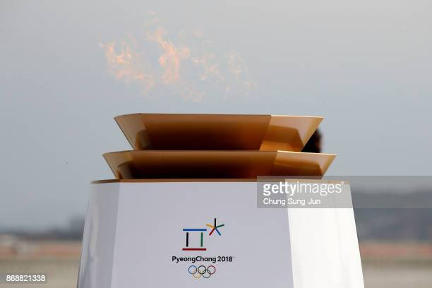 The PyeongChang 2018 Winter Olympics frame is seen during its arriving ceremony at Incheon International Airport on November 1 2017 in Incheon South...