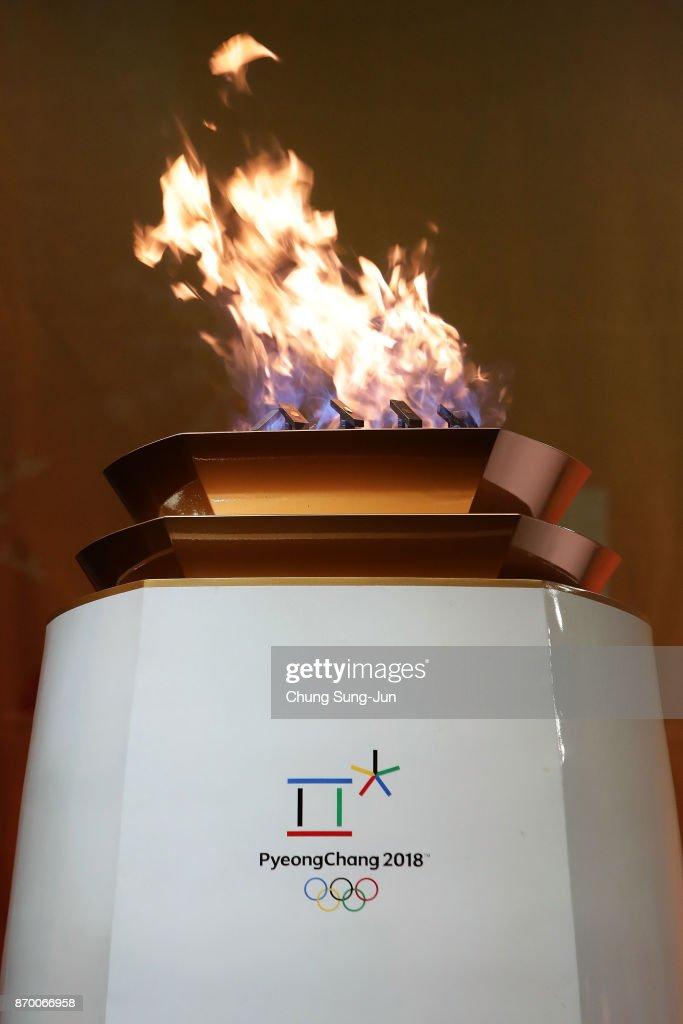 The PyeongChang 2018 Winter Olympics frame is seen during the PyeongChang 2018 Winter Olympic Games torch relay on November 4, 2017 in Busan, South Korea.