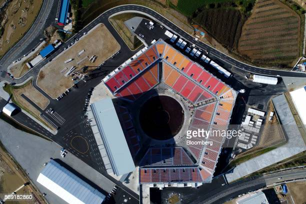 The Pyeongchang Olympic Stadium the venue for the opening and closing ceremonies at the 2018 PyeongChang Winter Olympic Games stands in this aerial...