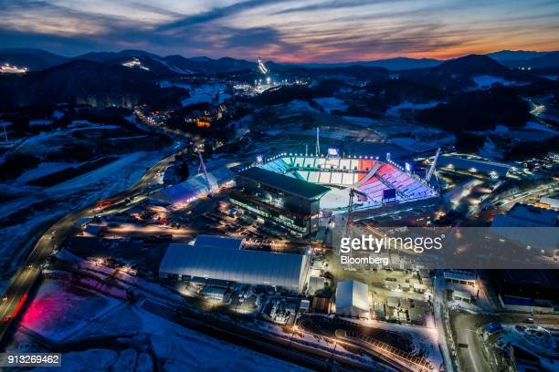 The Pyeongchang Olympic Stadium the venue for the opening and closing ceremonies at the 2018 PyeongChang Winter Olympic Games stands at dawn in this...