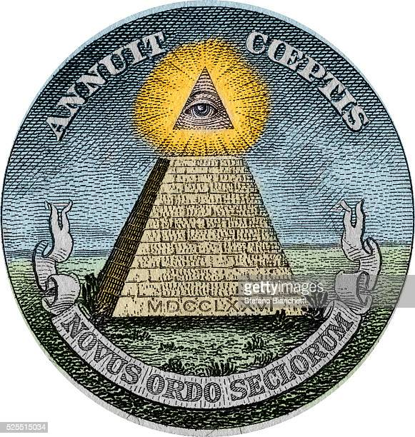 The pyramid and the allseeing eye symbols used in the Great Seal of the United States and printed on American paper currency The pyramid and eye were...