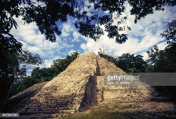 The pyramid known as The Castle Nohoch Mul Group or Group C Coba Quintana Roo Mexico Mayan civilisation