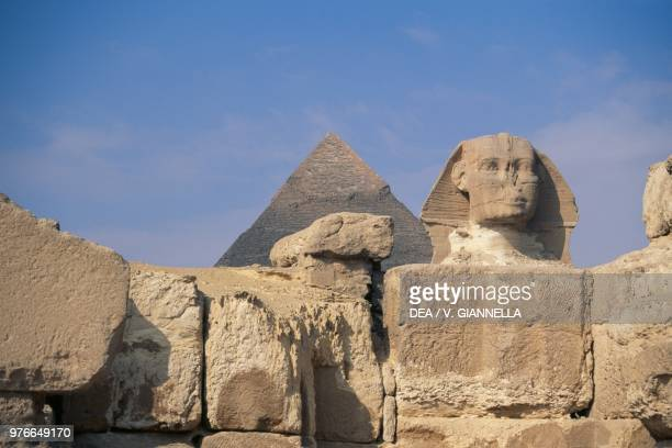 The pyramid of Chefren and the Sphinx Cairo Egypt