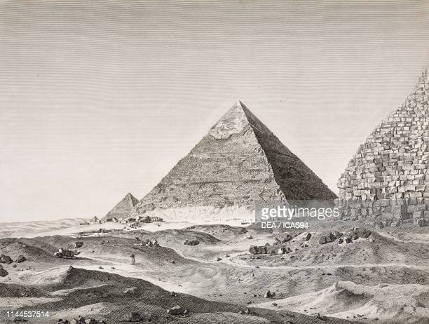 The pyramid of Chefren from the East Giza Egypt engraving by Beugean after a drawing by Dutertre from Description de l'Egypte ou Recueil des...