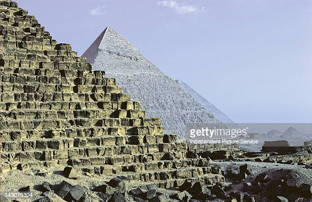 The Pyramid of Menkaure the Pyramid of Khafre and the Great Pyramid of Khufu in Giza Egypt