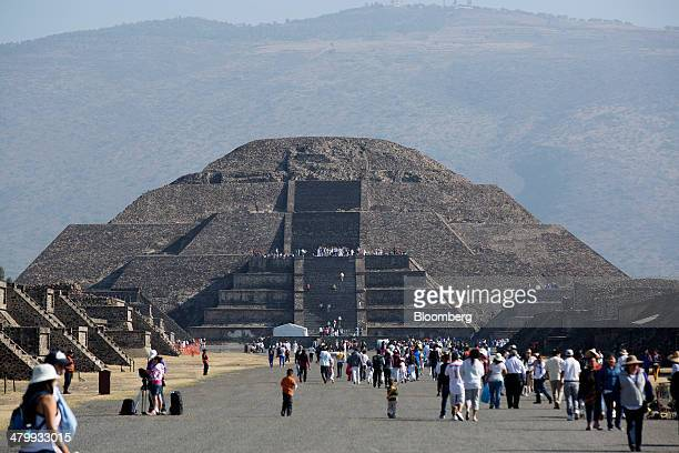 The Pyramid of the Moon stands during celebrations for the Spring Equinox at the archaeological site of Teotihuacan Mexico on Friday March 21 2014...