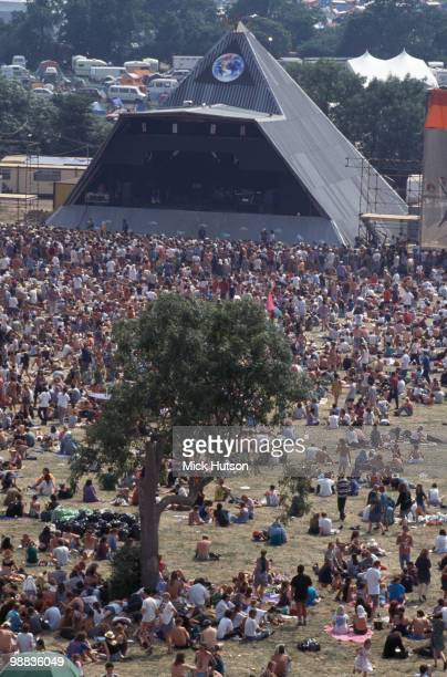 The Pyramid Stage and audience at the Glastonbury Festival in June 1992