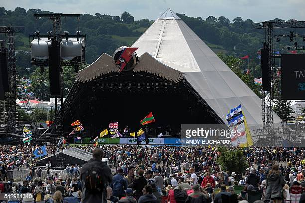 The Pyramid Stage is pictured on day four of the Glastonbury Festival of Music and Performing Arts on Worthy Farm near the village of Pilton in...