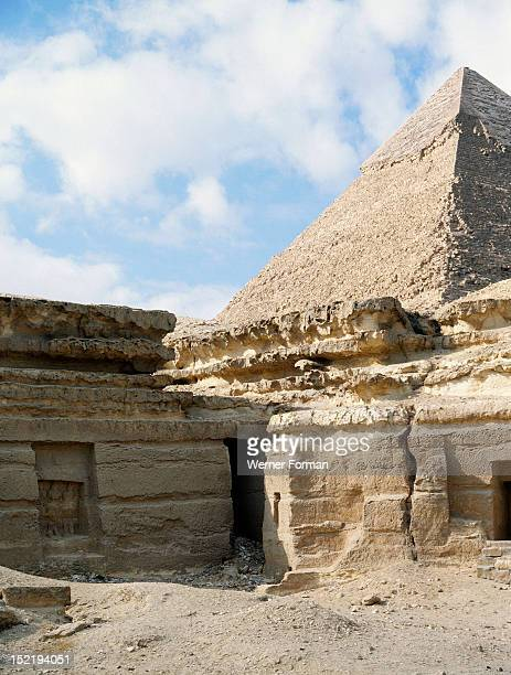 The pyramids at Giza View of the entrances to mastabas of various officials Egypt Ancient Egyptian Old Kingdom Giza