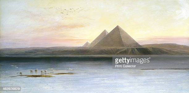 'The Pyramids at Gizeh' 19th century The pyramids viewed from the Nile at sunset with pelicans fishing on the left