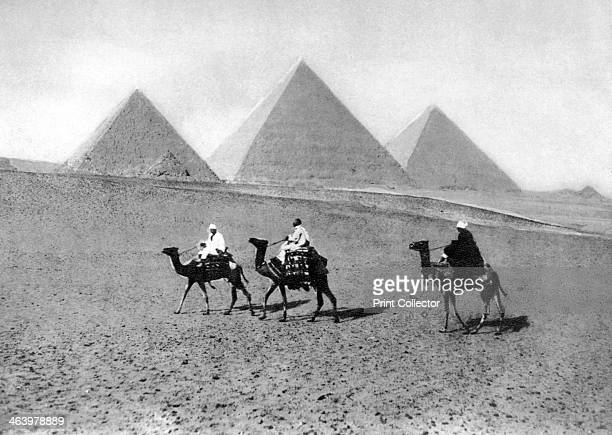 The Pyramids of Giza Cairo Egypt c1920s Plate taken From In the Land of the Pharaohs published by Lehnert Landrock