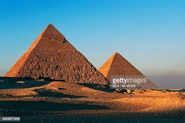 The Pyramids of Khafre or Chephren and Cheops Giza Necropolis Egypt Egyptian civilisation Old Kingdom Dynasty IV