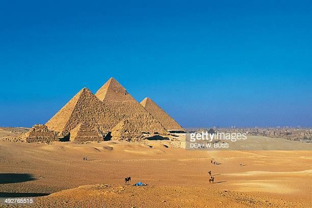 The Pyramids of Menkaure Khafre and Khufu Giza Necropolis Egypt Egyptian civilization Old Kingdom IV Dynasty